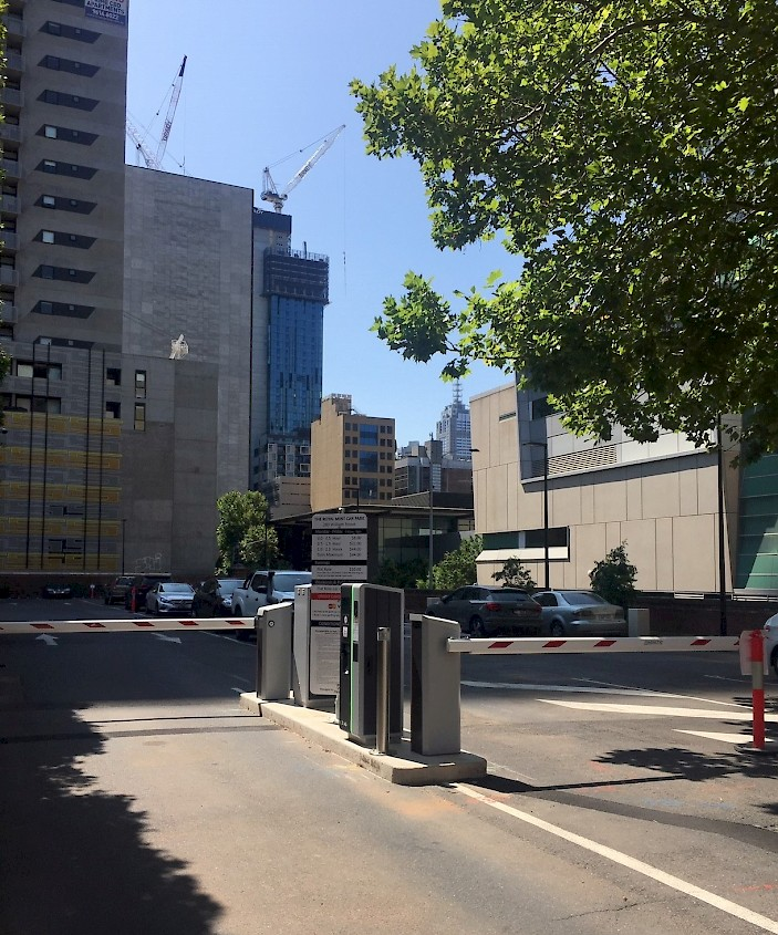 L'installation HUB sur le parking Mint à Melbourne, en Australie, est entièrement sans espèces cashless, ce qui est très pratique pour les conducteurs