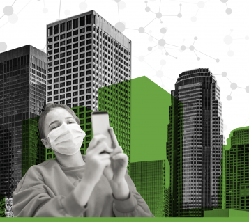 Young lady wearing a mask holds a smartphone in her hands; on the background, an urban landscape in grey and green colors