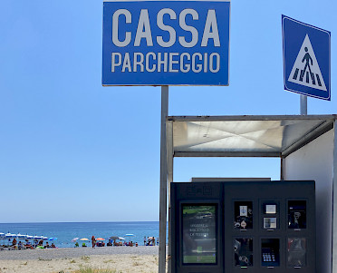 automated pay station at the beach in Marina di Camerota