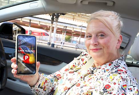 LNER users shows how easy it is to use LNER parking app from one's own smartphone and access the car park fully contactless
