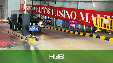 exit of Casino Malta parking area, with HUB barrier and frictionless lane thanks to LPR cameras
