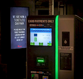 automatic pay station at ticketless Westfield shopping center in London, UK