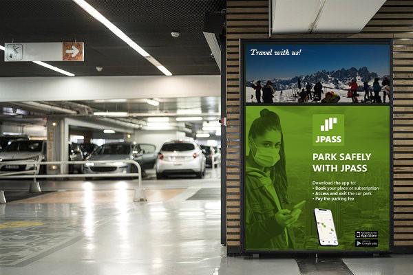car park signage with JPass app